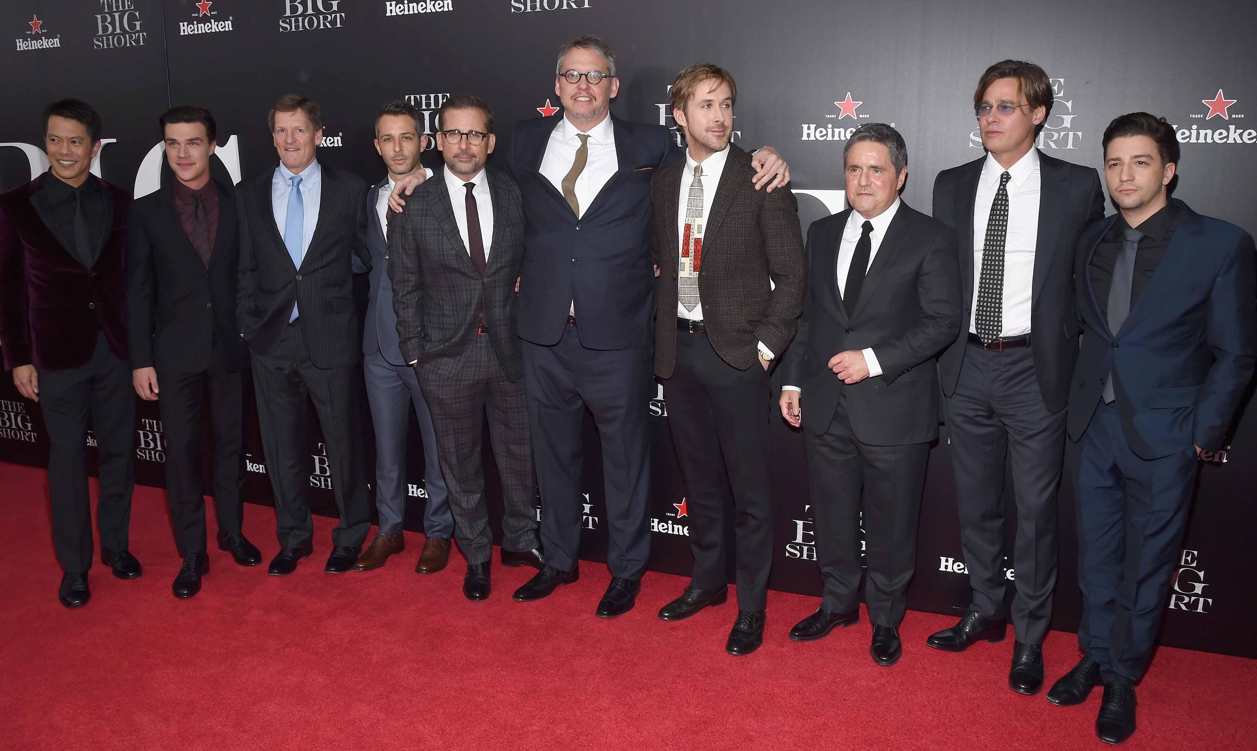 Ryan Gosling Brad Pitt Amp More Walk The Big Short Red