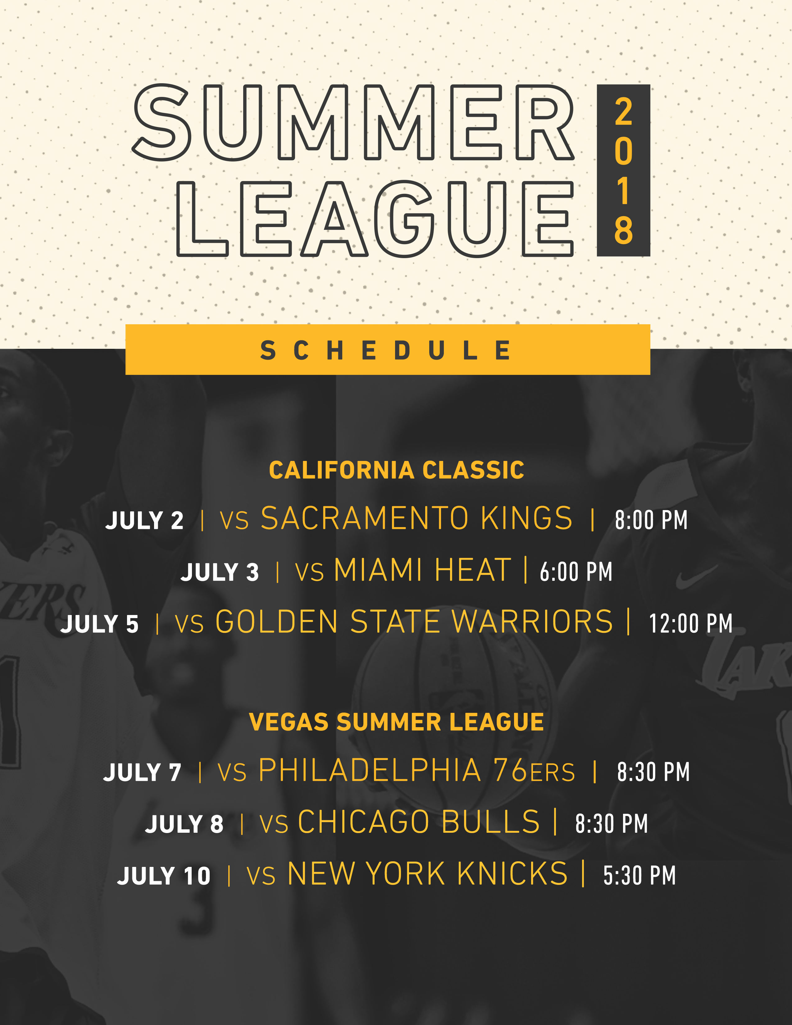 lakers summer schedule