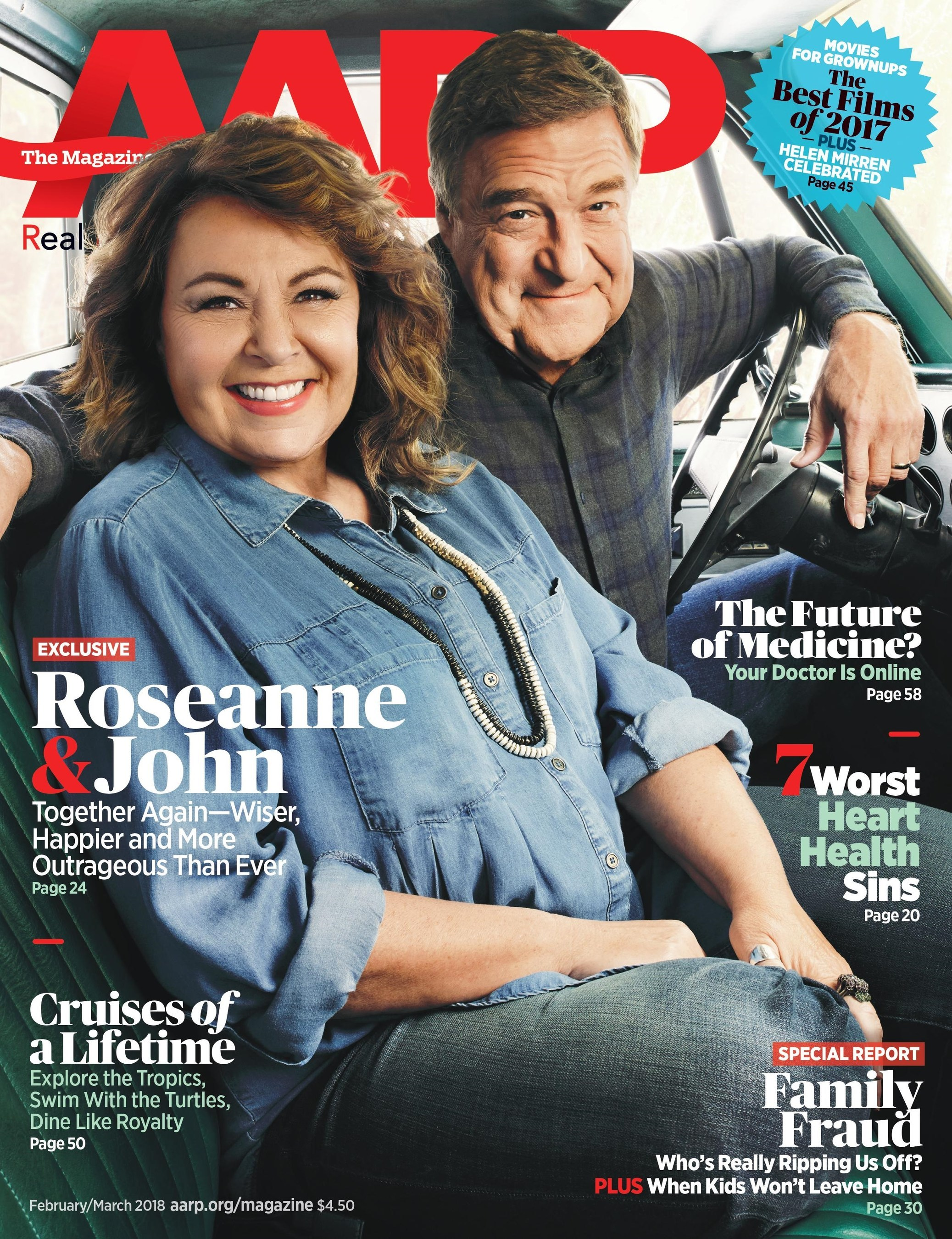 AARP magazine interview, roseanne barr and john goodman