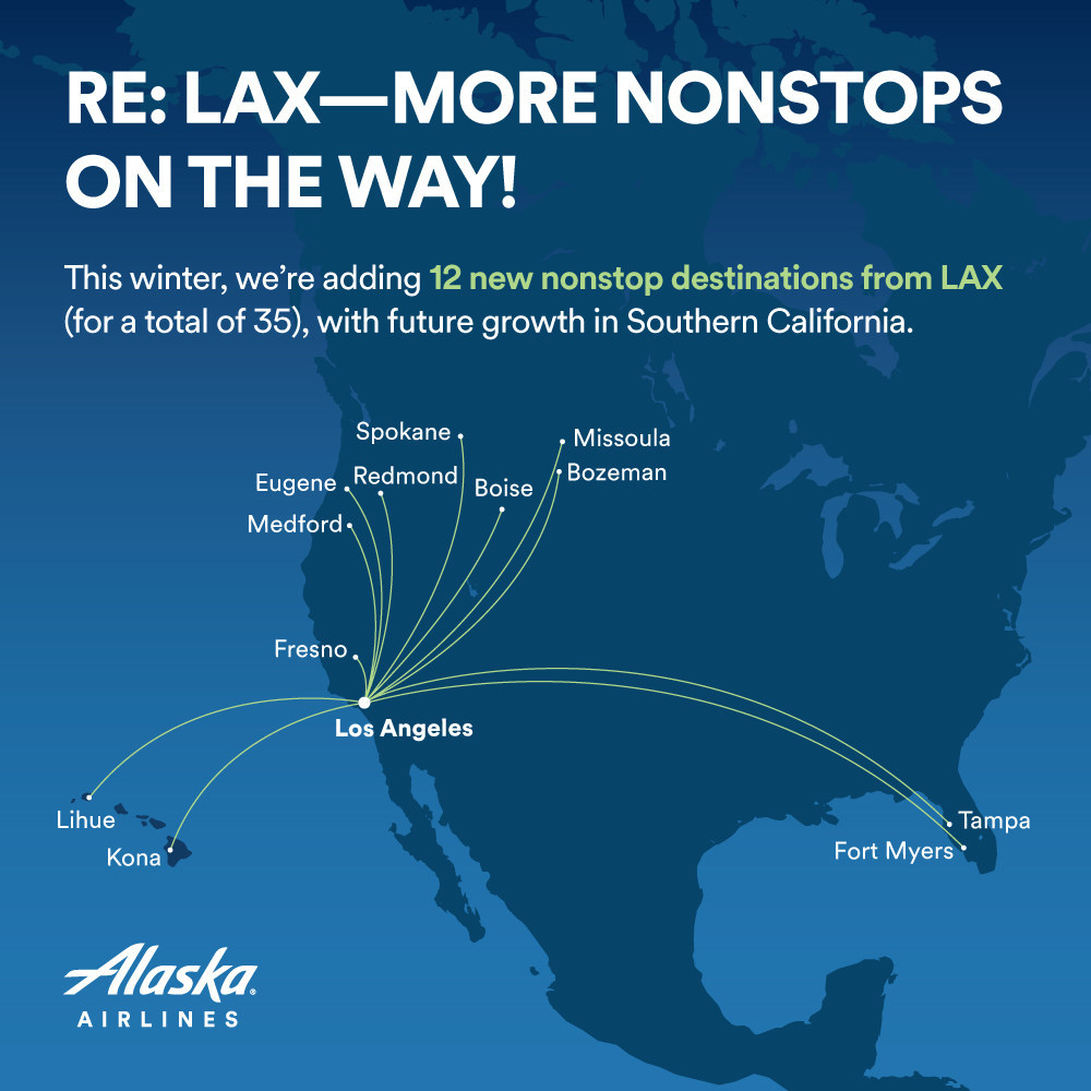 alaska airlines, los angeles, new routes